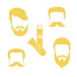 Милая иллюстрация вектора стилей причёсок людей, бород, усиков Стоковые Фотографии RF