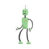 Милая иллюстрация вектора характера андроида робота шаржа Стоковые Изображения RF