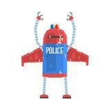 Милая иллюстрация вектора характера полицейския андроида шаржа Стоковое Фото