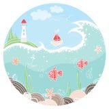 Милая иллюстрация в круге с маяком, парусником и рыбами на морском дне предпосылка цветастая иллюстрация штока