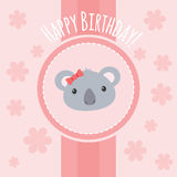 Милая иллюстрация девушки коалы с цветками Стоковое Изображение