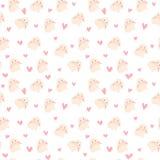 Милая иллюстрация кролика и сердец, безшовная картина Стоковое Фото