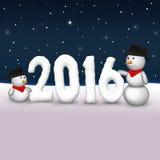 Милая иллюстрация 2016 снеговиков Стоковое Изображение