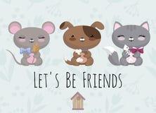 Милая иллюстрация с мышью младенца, собакой, котом стоковые фотографии rf