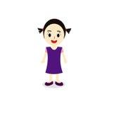 Милая иллюстрация шаржа девушки Стоковое Фото
