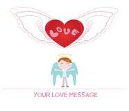 Милая иллюстрация шаржа молодого человека ангела в влюбленности Стоковая Фотография