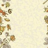 Милая картина границы насекомого шаржа Предпосылка концепции лета Стоковое Изображение