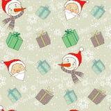 Милая картина рождества с Санта Клаусом и снеговиком Стоковые Изображения