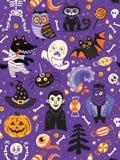 Милая картина хеллоуина безшовная с персонажами из мультфильма Стоковое Изображение RF