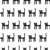 Милая картина черного кота безшовная на белой предпосылке Стоковое Изображение