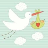 Милая карточка детского душа как ретро applique заплаты ткани аиста и newborn младенца иллюстрация вектора