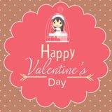 Милая карточка и девушка валентинок в клетке Стоковая Фотография