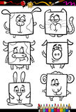 Милая книжка-раскраска шаржа животных Стоковые Изображения RF