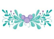 Милая комбинация вектора с нарисованными вручную флористическими элементами и ветвями Стильный простой дизайн также вектор иллюст Стоковые Фото