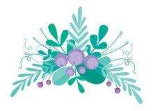 Милая комбинация вектора с нарисованными вручную флористическими элементами и ветвями Стильный простой дизайн также вектор иллюст Стоковое Фото