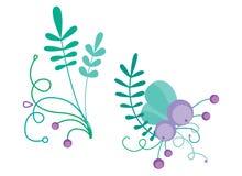 Милая комбинация вектора с нарисованными вручную флористическими элементами и ветвями Стильный простой дизайн также вектор иллюст Стоковые Изображения