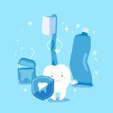 Милая концепция здоровья зуба шаржа Стоковое Изображение RF