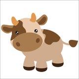Милая коричневая иллюстрация вектора коровы Стоковые Фотографии RF