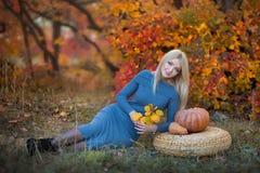 Милая красивая женщина дамы девушки с светлыми волосами в стильном платье при шляпа стоя в лесе осени Стоковая Фотография