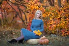 Милая красивая женщина дамы девушки с светлыми волосами в стильном платье при шляпа стоя в лесе осени Стоковое Фото