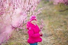 Милая красивая стильная одетая девушка брюнет при мама матери стоя на поле персикового дерева весны молодого с пинком стоковые фото