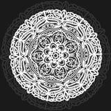 Милая мандала, без цвета Мандала с цветочным узором Белая круглая мандала линий на черной предпосылке желтый цвет картины сердца  Стоковое Изображение