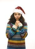 Милая маленькая девочка в изолированной шляпе santas красной Стоковая Фотография RF
