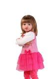 Милая маленькая девочка в розовом платье Стоковые Фото