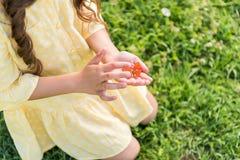 Милая маленькая девочка играя с красивой сумеречницей Стоковая Фотография RF
