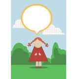 милая маленькая девочка на зеленом луге иллюстрация штока