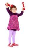 Милая маленькая девочка подняла ее голову над Стоковое Изображение RF