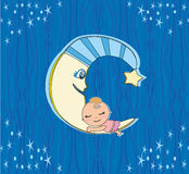 Милая маленькая девочка спать на луне Стоковое Изображение