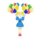 Милая маленькая девочка с баллонами стоковое фото rf