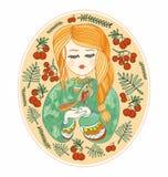 Милая маленькая девочка с птицей Желтое, зеленое и красное deco вектора Стоковые Изображения