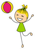Милая маленькая девочка с шариком Стоковое фото RF