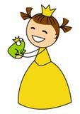 Милая маленькая девочка с лягушкой Стоковые Изображения RF