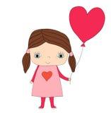 Милая маленькая девушка валентинки Иллюстрация вектора
