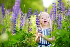 Милая маленькая девушка preschooler имея потеху в красивом зацветая поле lupine Стоковые Фото
