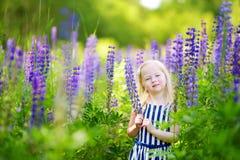 Милая маленькая девушка preschooler имея потеху в красивом зацветая поле lupine Стоковая Фотография RF