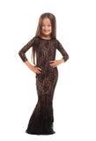 Милая молодая дама в шикарном платье изолированном на белизне Стоковая Фотография RF