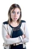 Милая молодая женщина сердитая стоковое фото rf