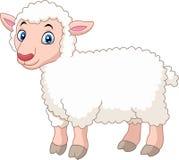 Милая овечка шаржа изолированная на белой предпосылке Стоковые Изображения