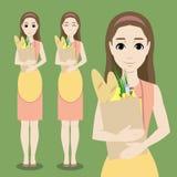 Милая домохозяйка шаржа с сумкой еды Стоковые Фотографии RF
