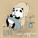 Милая панда в кресле иллюстрация вектора