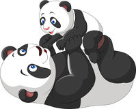 Милая панда матери и младенца иллюстрация вектора