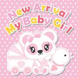 Милая панда младенца с игрушкой утки и младенец cart иллюстрация шаржа для дизайна карточки детского душа Стоковая Фотография RF