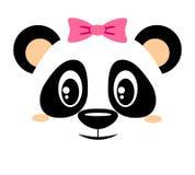 Милая панда с розовым смычком Girlish печать с медведем китайца для футболки бесплатная иллюстрация