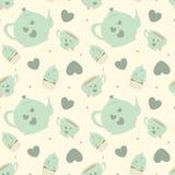 Милая пастельная иллюстрация предпосылки картины комплекта чая шаржа безшовная с пирожными Стоковое Фото