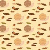 Милая пастельная улитка с иллюстрацией предпосылки картины жолудей и листьев безшовной бесплатная иллюстрация