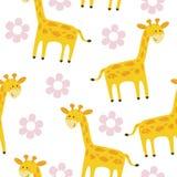 Милая печать картины жирафа для детей Стоковая Фотография